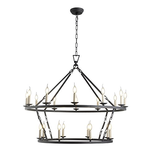 Decomust 20 Light Chapman Large Two-Tiered Ring Chandelier Openwork Lantern Pendant Lamp Stairway Loft Entry Kitchen Hall Foyer Ceiling Fixture (Aged Iron)