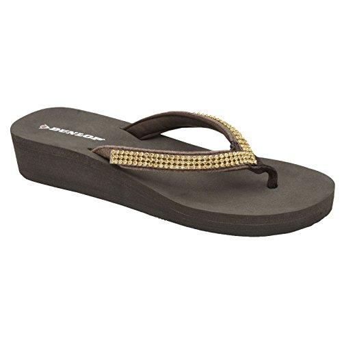 Slip Mujer On sandalias Post cuña Toe bajo Marrón Dunlop dqtx0w1II
