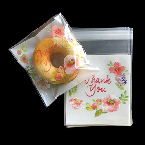 Self Adhesive Bag for Cookies 200 PCS Thank You Treat Bags 4 x 4 INCH Flat Goody Bag Party Favor Bags for Handmade Candies and Gummy (200, 4 x 4 INCH)