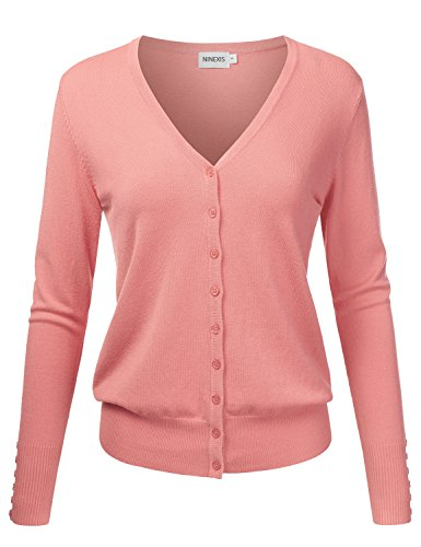 NINEXIS Womens Basic V-Neck Long Sleeve Button Down Cardigan Sweater DARKPEACH M