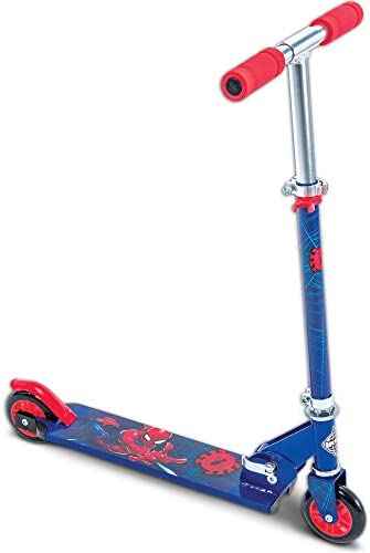 Huffy Boys Marvel Ultimate Spider-Man 2-Wheel Inline, Lightweight, Durable, Safe, Foldable with no-tools Needed Scooter with Very Responsive Rear Brake for Maximum Safety