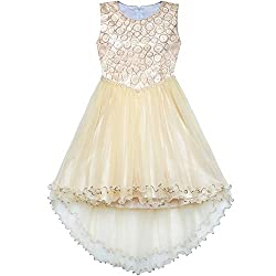 Champagne Sequin Hi-Low Flower Girl Dress