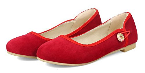 Aisun Womens Comfort Casual Low Cut Driving Cars Scarpe Slip On Flats Rosse