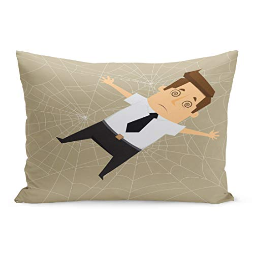 Emvency Throw Pillow Covers Spider Man Businessman Trapped in Webs Cartoon Scary Panic Pillow Case Cushion Cover Lumbar Pillowcase Decoration for Couch Sofa Bedding Car Home Decor 20 x 36 inchs -