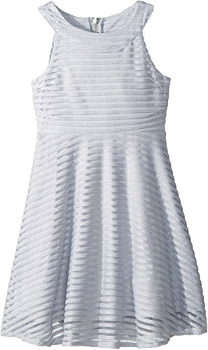 Shadow Mesh Stripe Girls (US Angels Girl's Shadow Stripe Mesh Dress (Big Kids) Light Blue 14)