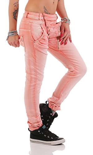 Fashion4Young L Femme bleu Pastelcoral fonc Taille bleu Jeans 42 empire rt0rB