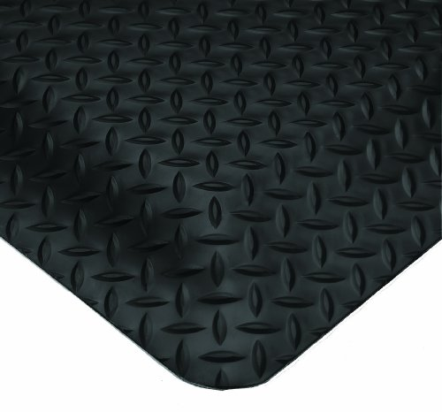 Wearwell PVC 414 UltraSoft Diamond-Plate Heavy Duty Anti-Fatigue Mat, Safety Beveled Edges, for Dry Areas, 3' Width x 10' Length x 15/16'' Thickness, Black by Wearwell Industrial
