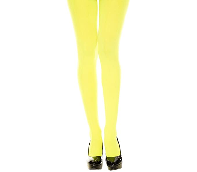 dc437b88614a5 Amazon.com: ML747 (Neon Yellow) Opaque Tights: Clothing