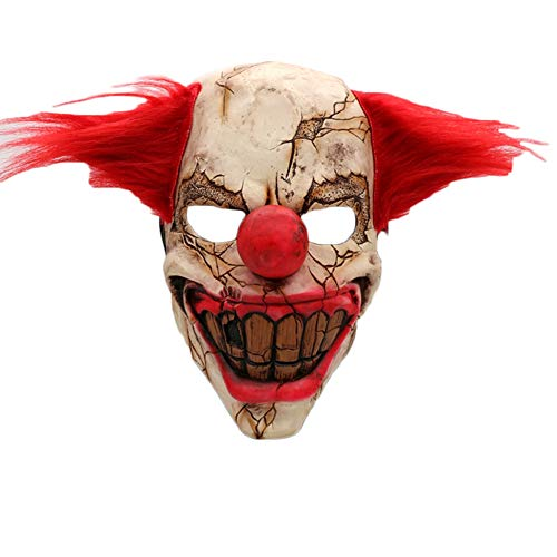 (Unigds Cool Funny Costume Head Mask Scary Halloween Costumes, Elastic Band Mask(Clown Half)