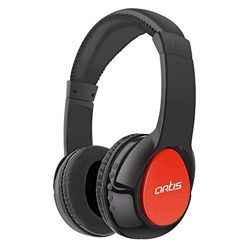 Artis BH200M Bluetooth Headphone with Mic/FM Radio/Micro SD Card Reader  Black/Red