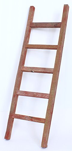BarnwoodUSA Rustic 4 ft Decorative Ladder - 100% Reclaimed Wood Ladder, Red