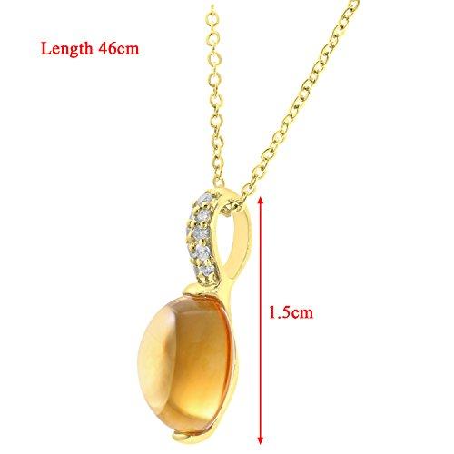 Revoni Bague en or jaune 9carats Diamant rond et 2,25carats Citrine Pendentif avec chaîne de 46cm