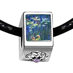 Chicforest Silver Plated Monet Water Lilies Photo Light Amethyst Crystal June Birthstone Flower Charm Beads Fits Pandora Bracelets