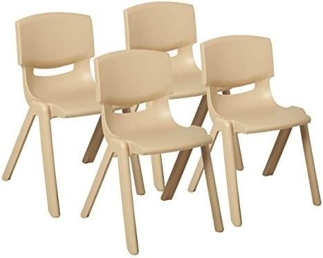 Magnificent Ecr4Kids School Stack Resin Chair Indoor Outdoor Plastic Stacking Chairs For Kids 18 Inch Seat Height Sand 4 Pack Ncnpc Chair Design For Home Ncnpcorg