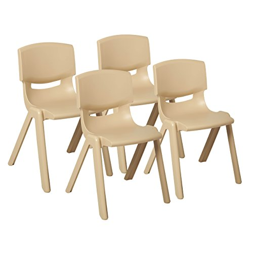 ECR4Kids School Stack Resin Chair, Indoor/Outdoor Plastic Stacking Chairs for Kids, 18 inch Seat Height, Sand (4-Pack)