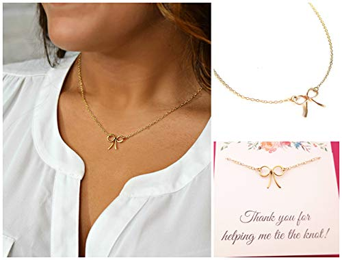 Thank You For Helping Me Tie The Knot - Gold Bow Bridesmaid Necklace