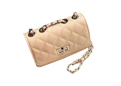 Aimerfeel falso acolchado de hombro bolso de cuero del estilo del diseñador con cadena larga, negro, blanco o beige Beige