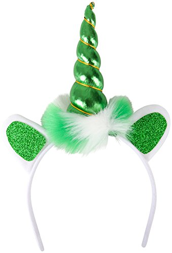 Saint Patrick's Day Mystical Green Unicorn Horn Headband Costume Accessory