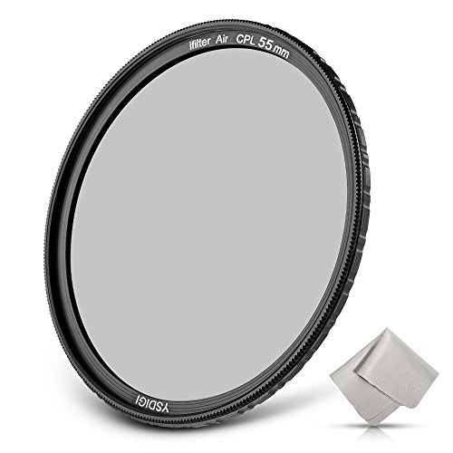 55mm Circular Polarizer filter, YSDIGI CPL Protection Lens Filter with Lens Cloth, Multi-Coated, High Definition SCHOTT B270 Glass, Nano Coatings, Ultra-Slim, HD CPL Filter for outdoor photography.