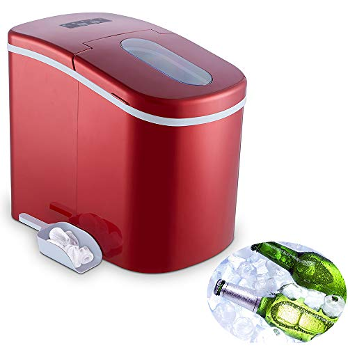 YONGTONG Portable Ice Maker Countertop Ice Maker Machine for Home, 12KG(26LB) Per 24 Hours,Ice Cubes ready in 8 Minutes, 2 Selectable Cube Size,with Ice Scoop and 1.5lb Removable Ice Bucket ( Red )