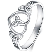925 Sterling Silver Ring Boruo Celtic Knot Heart High Polish Tarnish Resistant Eternity Wedding Band Stackable Ring