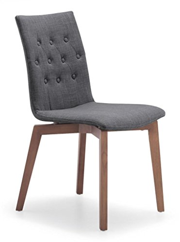Tufted Dining Chair in Grey with Natural Wood Legs (Set of ()