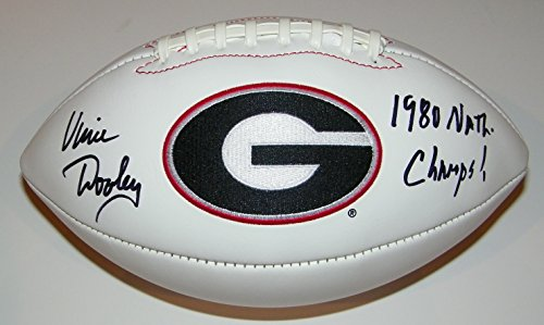 - Vince Dooley Signed Autographed Auto UGA Georgia Bulldogs Logo Football w/1980 Natl Champs - Proof