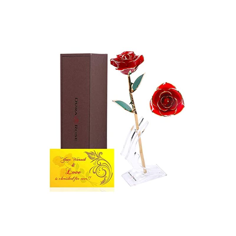 silk flower arrangements durarose authentic rose with stand and love card, everlasting rose stem dipped in 24k gold - best gift for loves ones. ideal for valentine's day, mother's day, anniversary, birthday, (red)
