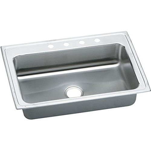 (Elkao|#Elkay LRSQ3322MR2 Elkay 18 Gauge Stainless Steel 33 Inch x 22 Inch x 7.625 Inch single Bowl Top Mount Quick-Clip Kitchen Sink, 2 Faucet Holes (Middle & Right), )