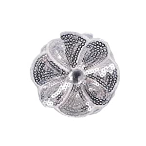Jeweled Posey Sequin Brooch Silver