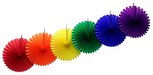 13 Inch Classic Rainbow Party Decorations (6 Fans) -