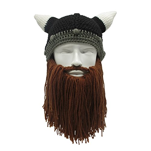 ZGZY Beard Hat Pirate Beanie Hat Knit Hat The Original Barbarian Warrior Knit Beard Hat Halloween Viking Horns Bearded Caps Windproof Funny for Men & Women Tentacle Crochet hat Knit (Viking Hat With Beard)