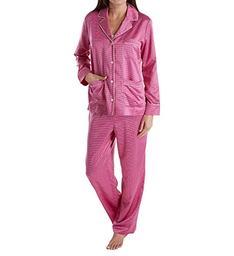 (Lauren Ralph Lauren Women's Satin Long Sleeve Notch Collar Pajama Set Pink Dot Medium)