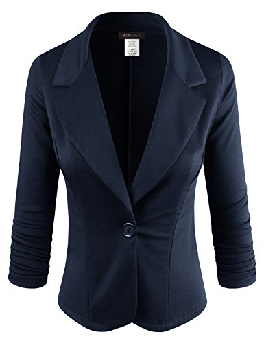 ELF FASHION Women Casual Work Knit Office Blazer Jacket Made in USA (Size S~3XL) Navy M by ELF FASHION