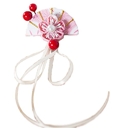 [GLK Japan Cherry Blossom Sakura Fan Rabbit Hair Clip Kanzashi Kimono Yukata Maid Cosplay] (Kit Kat Halloween Costumes)