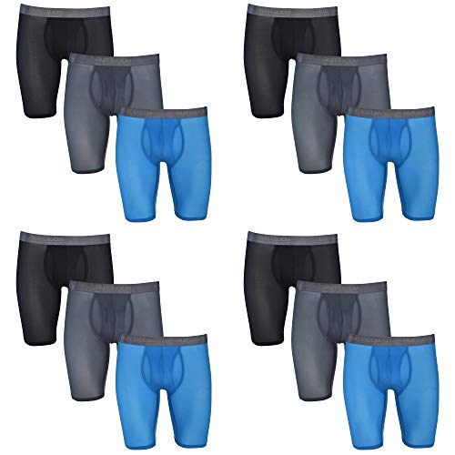 Fruit of the Loom Men's 12-Pack Everlight Long Leg Boxer Briefs Breathable Nylon/Spandex Blend (Large (36-38))