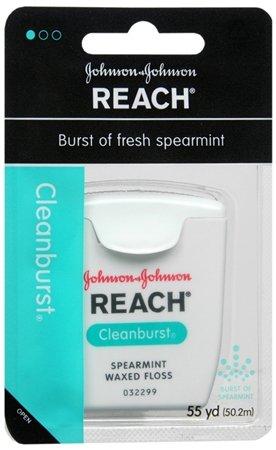 Johnson & Johnson portée soie dentaire Cleanburst, menthe verte, ciré 55 Yd (Pack de 6)