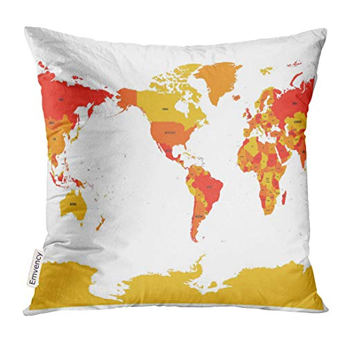 Emvency Throw Pillow Cover World Map in Four Shades of Red on White High Detail America Centered Political with Labeled Compound Decorative Pillow Case Home Decor Square 20x20 Inches Pillowcase (Map Of North And South America Labeled)