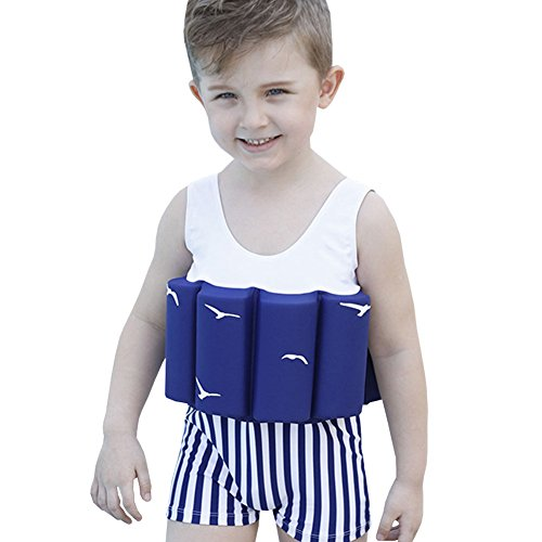 Lycra Float Suit - FREE FISHER Kids Swimwear Training One-Piece Buoyancy Swimsuit Detachable Float Sun Protection for Boys Girls, Blue Seagull, Tag 90/1-2 Years