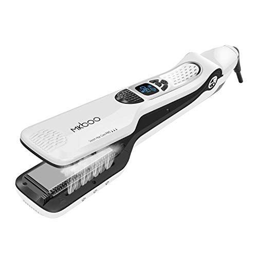 MKBOO Hair Straightener with Steam,Salon Professional Nano Titanium Ceramic Steam Flat Iron with Removable Comb+Digital LCD+5 Level Adjustable Temperature+Auto Temperature Lock White