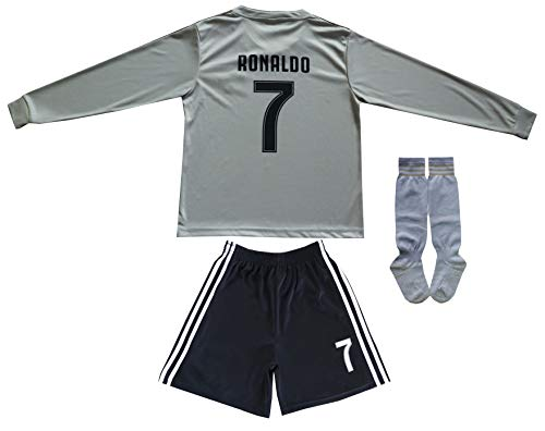 GamesDur 2018/2019 Cristiano Ronaldo #7 Away Long Sleeve Juventus Soccer Kids Jersey & Shorts Socks Set Youth Sizes (Juve), 10-11 Years