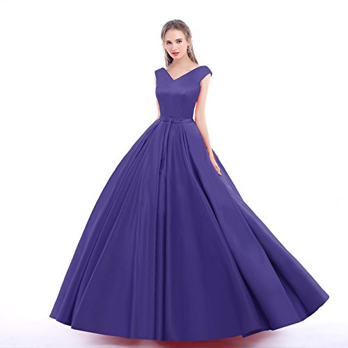 Gown Women's MALL Prom Ball Purple BRL Neck V Dresses Long UPvwOCpqpx
