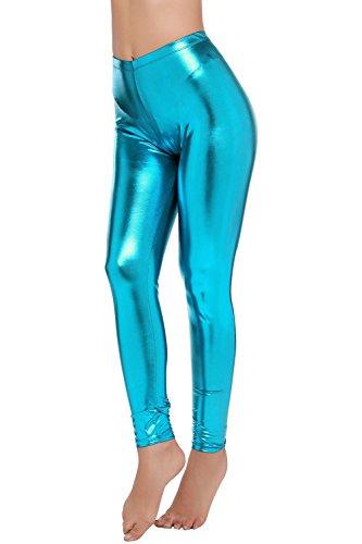 PINKPHOENIXFLY Womens Sexy Shiny Faux Leather Leggings Pants (L, Ocean Blue) (Leggings Barbie)