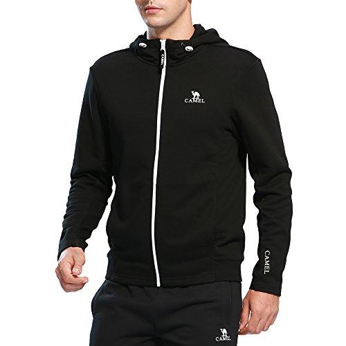 Full Zip Fleece Hoody Sweatshirt (CAMEL Men's Full-Zip Hoodies Fleece Hoodie Sweatshirt Fashion Hooded Outerwear Coat Color Black M)