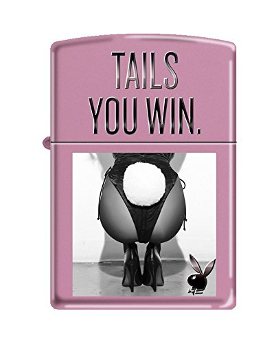 zippo-playboy-tails-you-win-pocket-lighter-pink-matte