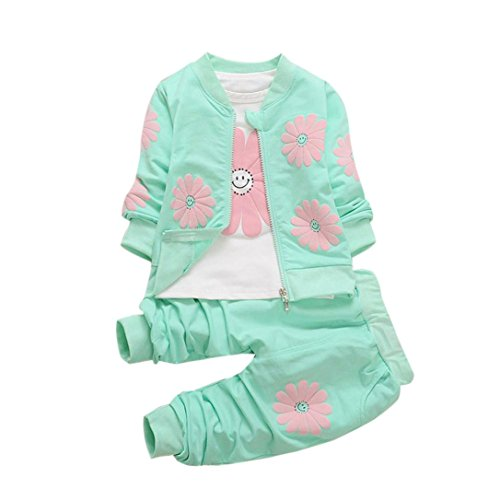 Lanpan Baby Kid Girls Outfits Floral T-shirt Tops+Flower Coat+Pants Clothes Set (24M, green) (Top Coat Pants)