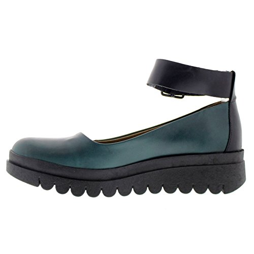 Fly London Womens HAEM774FLY Leather Shoes Petrol / Black