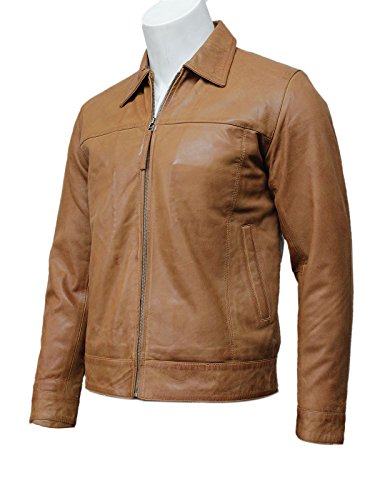 Mens Leather Biker Jacket tan Harrington New with Tags 100% Real Leather Bomber S-5X (3X-Large)