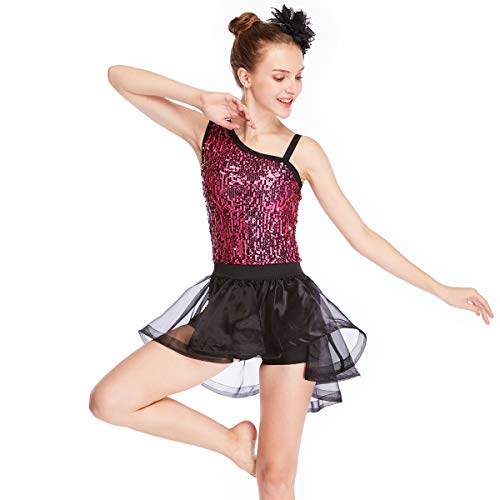 MiDee Asymmetrical-Neck Sequined Leotard High-Low Skirt Two-Pieces Dance Costume (SA, Cerise/Black)