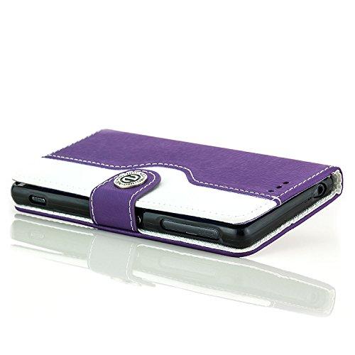 Saxonia Funda Samsung Galaxy S7 Edge Cubierta Carcasa Protectora Elegante con [Ranuras para Tarjetas] Billetera | violeta-Bianco Violeta-Blanco